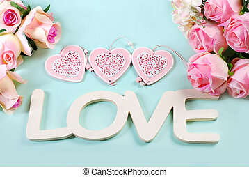 romantic love background in pastel colors with word...