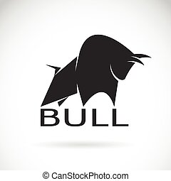 Vector image of an bull design on a white background. Logo,...