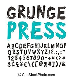 Vintage Press Font Black - Vintage press font isolated on...