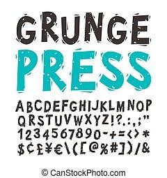 Vintage Press Font Black - Vintage press font isolated on...