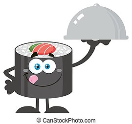 Sushi Roll Holding A Cloche Platter - Sushi Roll Cartoon...