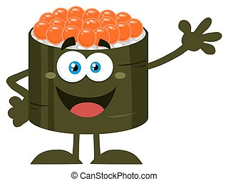 Cute Sushi Roll Waving - Cute Sushi Roll Cartoon Mascot...
