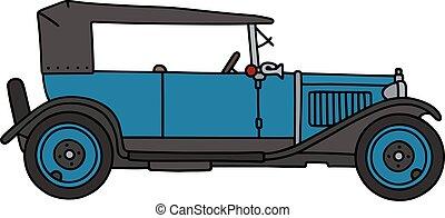 Vintage blue cabriolet - Hand drawing of a vintage blue...