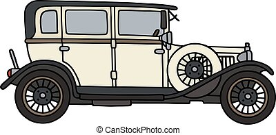 Vintage cream limousine - Hand drawing of a vintage cream...