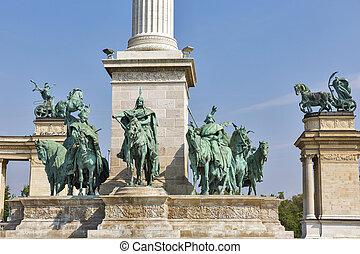 milenio, monumento, Dedicado, a, el, Húngaro, kings.,...