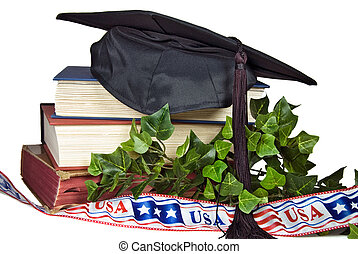 Graduation Day - Graduation cap on books with patriotic...