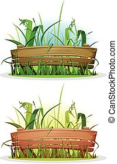 Spring Blades Of Grass With Wood Fence - Illustration of a...