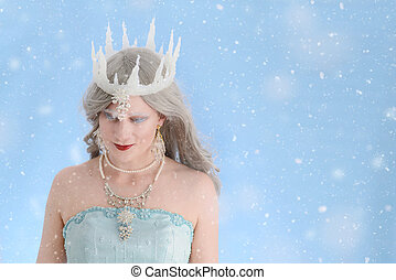 ice queen with snow - portrait of ice queen with snow