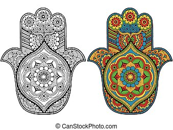 Hamsa decorated with patterns - Hand with oriental patterns...
