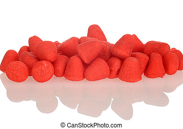 sugar coated strawberry candy - closeup sugar coated...