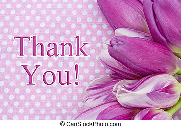 Thank You Message, Some tulips with pink polka dots and text...