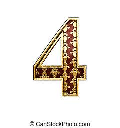 4 golden letter 3d illustration