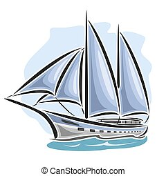 Vector logo sailing yacht, sailboat, sailer, gaff tender,...
