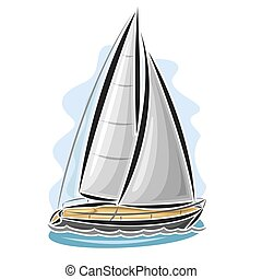 Vector logo sailing yacht, sailboat, sailer, gaff tender,...