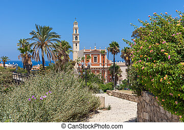 Saint Peter church in Jaffa, Israel. - View of Saint Peter's...