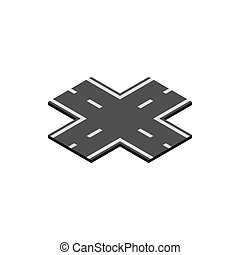 Crossroad icon, isometric 3d style - Crossroad icon in...