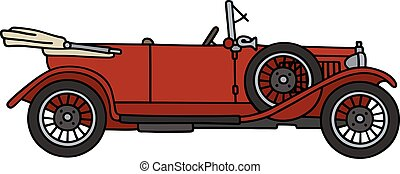 Vintage red cabriolet - Hand drawing of a vintage red...