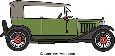 Vintage green cabriolet - Hand drawing of a vintage green...
