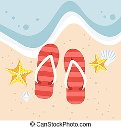 Slippers with starfish and shell on the beach