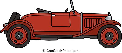 Vintage red roadster - Hand drawing of a vintage red...