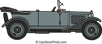 Vintage gray cabriolet - Hand drawing of a vintage gray...