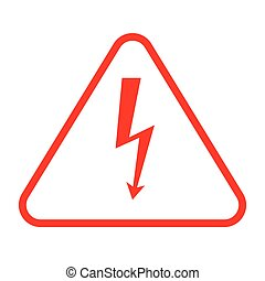 Danger sign with frame, vector illustration of high voltage symbol