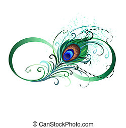 Infinity symbol with peacock feather - The symbol of...