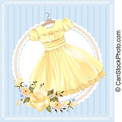 vintage label with yellow dress