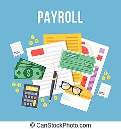 Payroll, invoice sheet flat design
