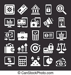 Vector banking icons set. White finance and banking icons...