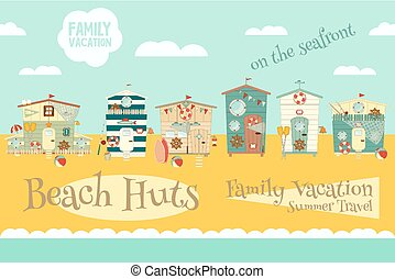 Beach Huts on Seafront. Summer Poster. Advertisement for...
