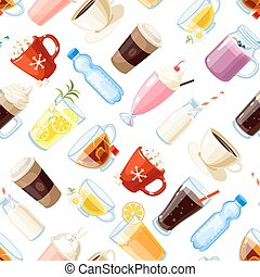Seamless pattern with cartoon food: non-alcoholic beverages...