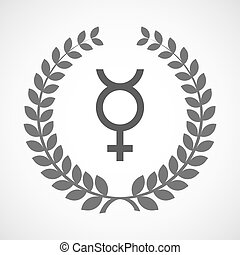 Isolated laurel wreath icon with the mercury planet symbol -...