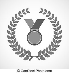Isolated laurel wreath icon with  a medal