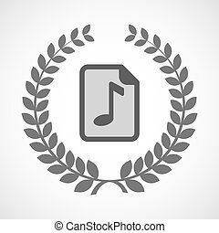 Isolated laurel wreath icon with a music score icon -...