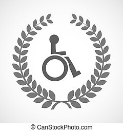 Isolated laurel wreath icon with  a human figure in a wheelchair icon