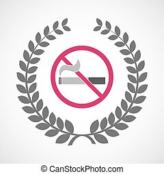 Isolated laurel wreath icon with a no smoking sign -...