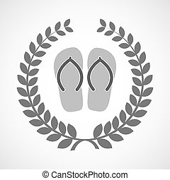Isolated laurel wreath icon with a pair of flops -...