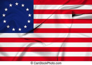 Waving Betsy Ross Flag