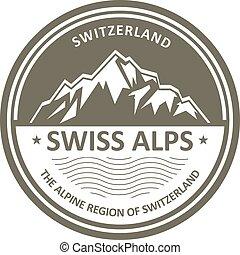 Swiss Alps emblem - Switzerland - Snowbound Swiss Alps...