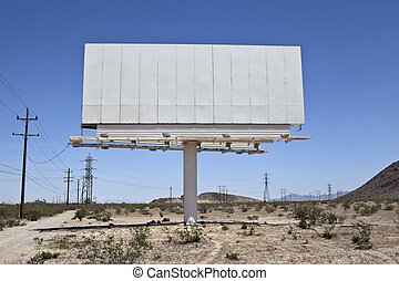 Blank Desert Billboard - Blank billboard in the middle of...