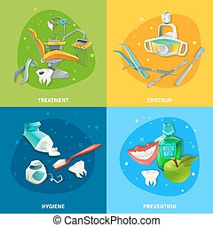 Dentist 4 Flat Icons Square Banner