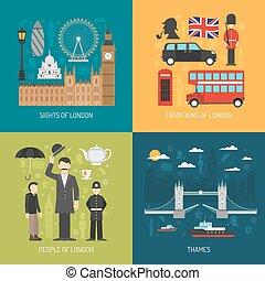 London concept 4 flat Icons square - London city symbols...