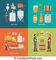 Brewery Concept Icons Set - Brewery Flat Concept Brewery...