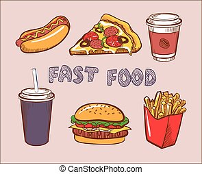Set Of Colorful Vector Fast Food Icons - Set Of Colorful...