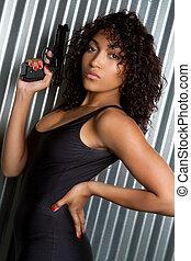 Sexy Gun Woman - Beautiful sexy black women holding gun