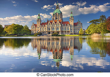 City Hall of Hannover. - Image of New City Hall of Hannover,...