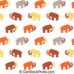 Seamless Pattern with Mammoth silhouettes, vector...