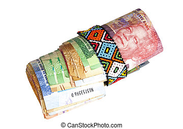 rolo, de, SUL, africano, notas, segurado, com, ZULU, contas,...