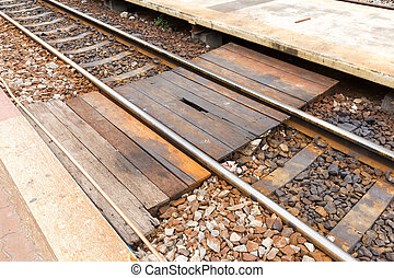 Walkway across railway - Close up old and drty wooden...